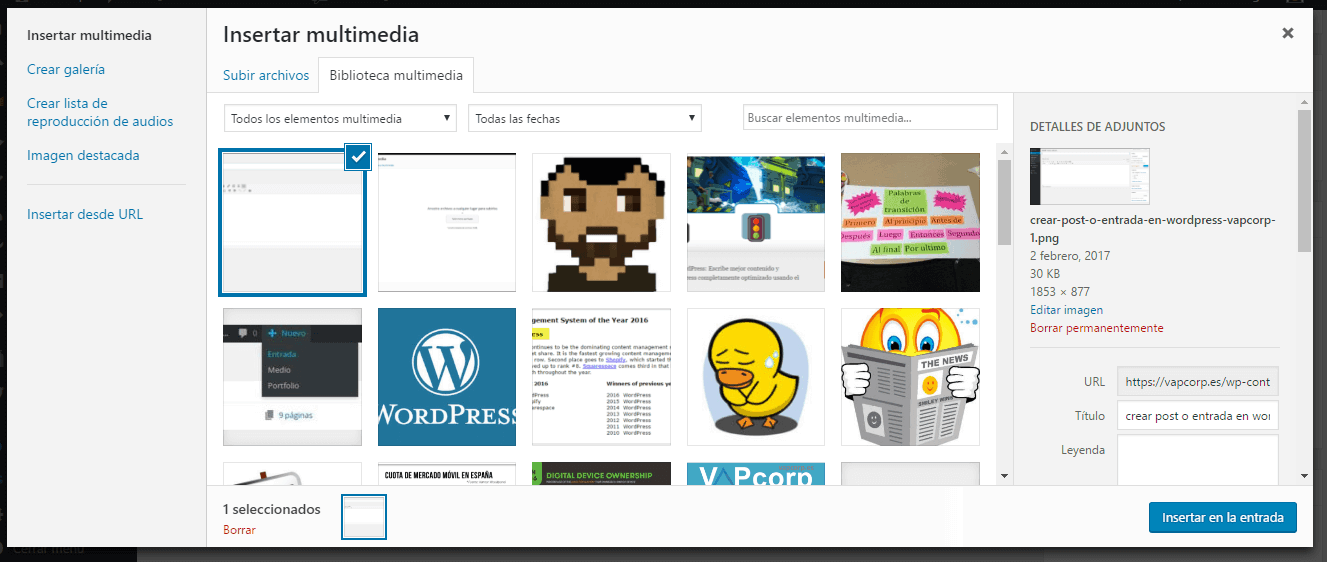 galeria de medios en wordpress