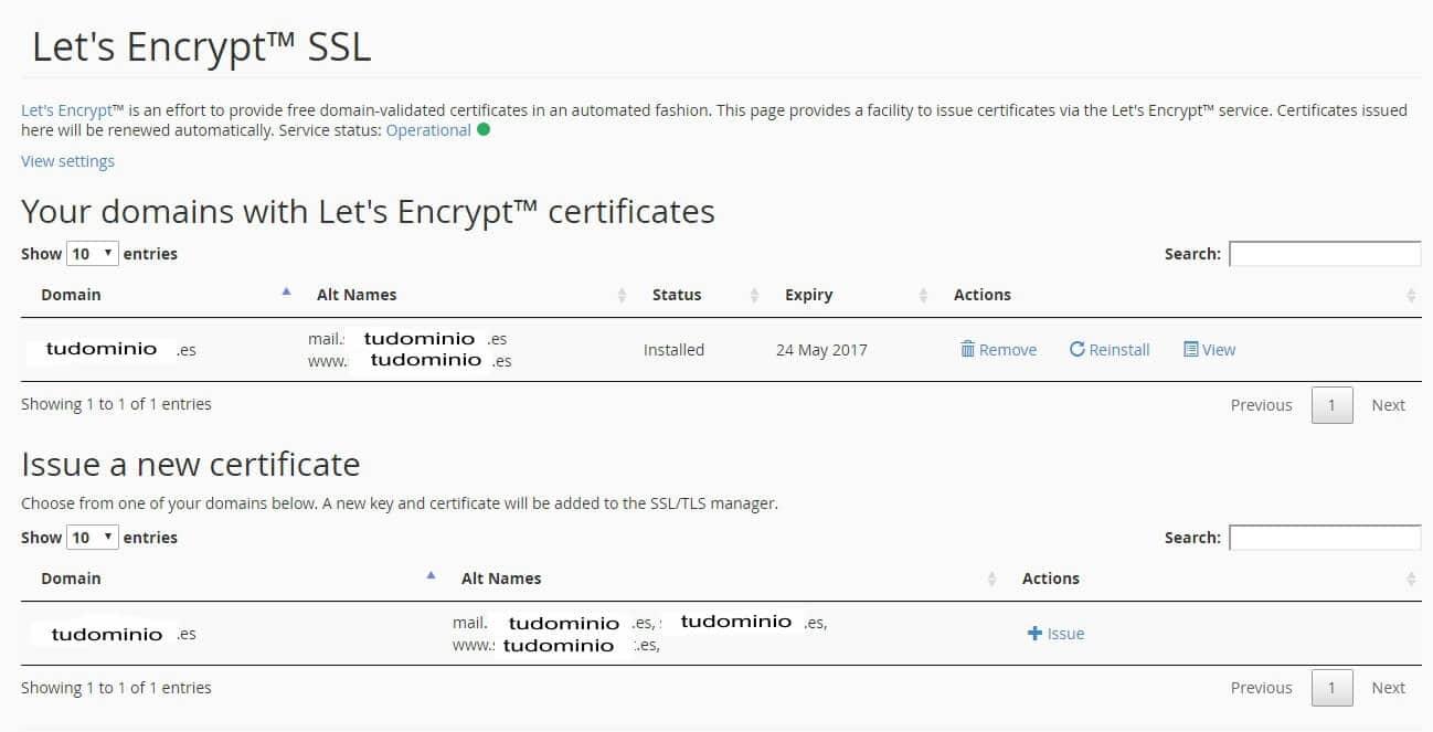 instalar certificados Let's Encrypt facil desde cpanel (2)